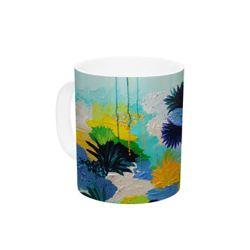 "Ebi Emporium ""Journey to Paradise"" Yellow Aqua Ceramic Coffee Mug"