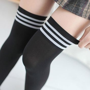 Fashion Sexy Women Girls Thigh High Striped Cotton Socks Over Knees Stockings