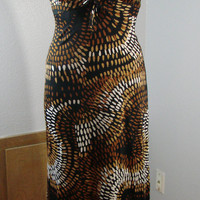 Vintage DeWeese Design Halter Dress XS 31 Bust Brown black tan white circles