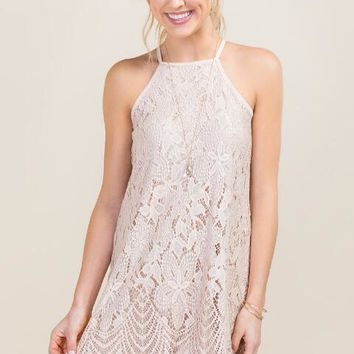 Michelle Scalloped Lace Halter Dress