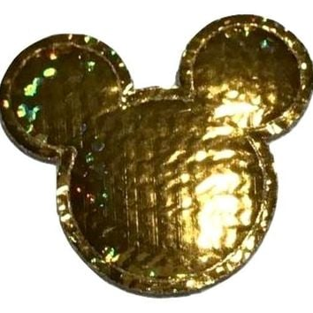 Gold holographic Minnie Mouse 30x25mm padded appliqué