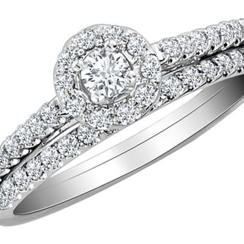 Diamond Engagement Ring & Wedding Band Set 1/2 Carat (ctw) in 10K White Gold