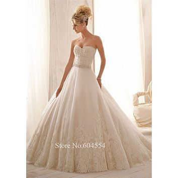 Vestidos De Novia 2016 Custom Made Vintage Wedding Dress White/Ivory Tulle Applique Beading Sash Lace Wedding Dress Bridal Gown