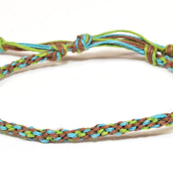 Hemp Bracelet Kumihimo Braided Eco Friendly Hemp Brown, Green & Blue Men's Jewelry