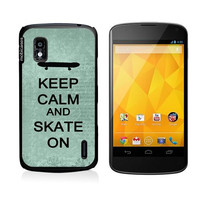 Keep Calm And Skate On Teal-Floral Google Nexus 4 Case - For Nexus 4