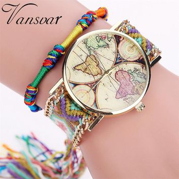Ladies Handmade Bracelet Vintage Watch World Map