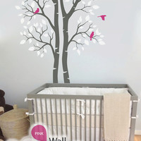 "Twin Tree Wall Decal - Wall Decoration - Tree Wall Sticker - Tree Decal - Large: approx 95"" x 61"" - KC006"
