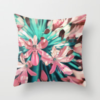 Sunny Agapanthus Flower in Pink & Teal Throw Pillow by micklyn