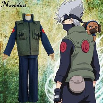 Naruto Cosplay Costume Japanese Anime Ninja Coat Shinobi Kakashi Hatake Cosplay Cartoon Green Vest For Show Man Fancy Adult