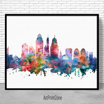 Cincinnati Skyline, Cincinnati Print, Cincinnati Ohio, Office Decor, Office Art, Watercolor Skyline, Watercolor City Print, ArtPrintZone