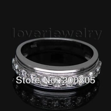 Vintage 14Kt White Gold Natural Full Cut Diamond Band Ring Wedding,Ring Engagement For Sale WU028