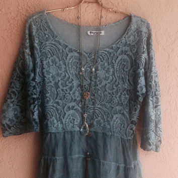 Gorgeous hand dyed blue silk and lace tunic romantic gypsy boho chc