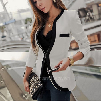 New Women's Elegant Coat OL V-neck Autumn White Black Color Slim Suits Jacket Coat 3 Sizes AP = 1651189636