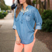 Kickin' Up Dust Top, Chambray