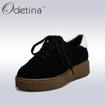 Odetina 2017 Spring New Womens Creepers Shoes Outdoor Casual Women Trainers Black Classic Round Toe Lace Up Platform Flats