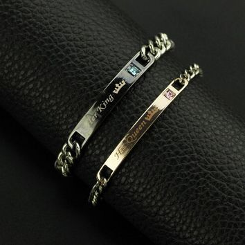 Cool Couple Bracelet His Queen Her King lovers Lettering Bracelet for Wife Black Rose Gold Couple Tag Bracelet for lover HunsbandAT_93_12