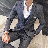 Men's Casual Luxury 3pc Suit (Blazer + Vest + Pants )
