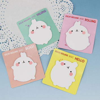 1pcs Cute Molang Rabbit Memo Pad Paper Sticky Notes Post It Notepad Kawaii Stationery school Supplies 4 Color Available