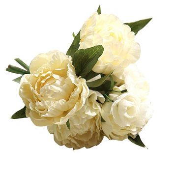 One Bouquet Artificial Fake Flowers Peony Bouquet Floral Crafts