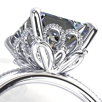 Mucha Princess/Square Moissanite Heart With Base Leaves Engagement Ring