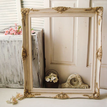 Antique White and Gold Large Ornate Open Frame, Shabby Chic Off White Distressed Frame, 20 x 24 Open Frame, French Farmhouse Frame