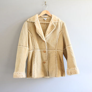 Genuine Suede Leather Coat Faux Fur Lining Beige Suede Coat Shearling Fur Hippie Boho Suede Jacket Vintage 80s 90s Size M #O114A