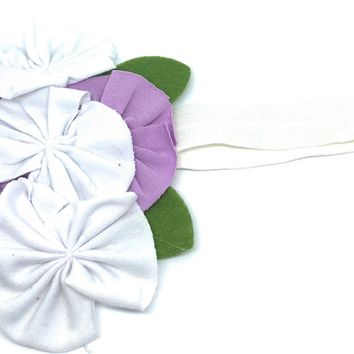 Soft Shabby Cotton Flower Headband
