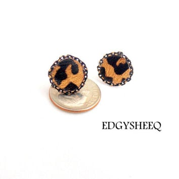Leather Stud Earrings, Leopard Print Earrings, Pony Hair Leather Earrings, Animal Print Studs, Black and Gold Studs, Teeny Tiny Earrings,