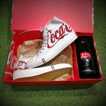 LMFON Best Onlie Sale KITH x Coca Cola x Converse Chuck Taylor All Star 1970s High 70 Sneakers White Red 160286C