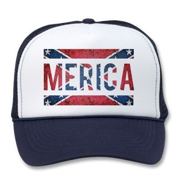 MERICA. Southern Confederate Flag Lettering Hats from Zazzle.com