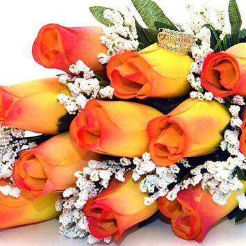 Yellow With Orange Tips Fall Wax Roses Bouquet