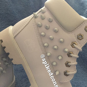 Spiked White Timberlands