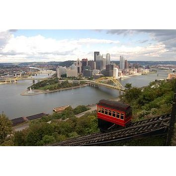 Pittsburgh Skyline poster Metal Sign Wall Art 8in x 12in