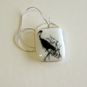Wire Wrapped Bird Pendant, Unique Asian Decal Fused Glass  Statement  Pendant Necklace B1