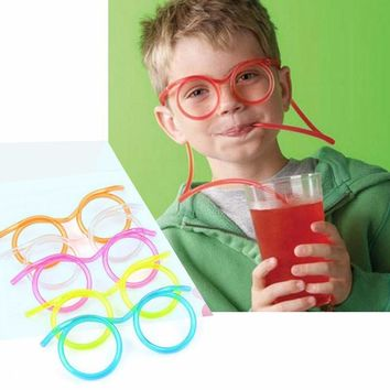2Pcs/lot Unique Flexible Novelty Straw Glasses Drinking Tube Fun Drinking Fashion&Relaxation&Entertainment Glasses Straw Toys