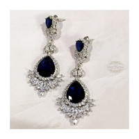 Bridal jewelry, Bridal earrings, Wedding jewelry, Cubic zircon crystal earrings, Navy blue earrings,Vintage inspired Sapphire earrings