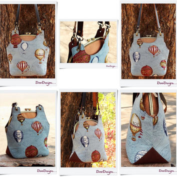 Shoulder bag, Kiss lock clutch hot air balloons, Metal frame bag with leather straps