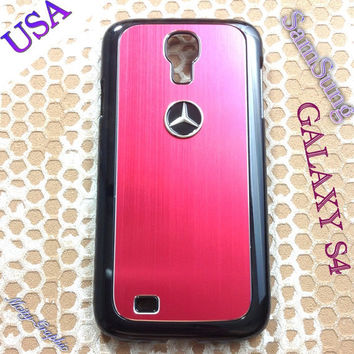 Mercedes Samsung Galaxy S4 Case Mercedes 3D metal Logo Premium Cover for S4 / i9500 - Red