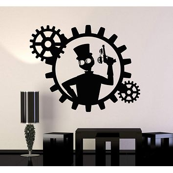 Vinyl Wall Decal Steampunk Man Gun Gears Decor Stickers Murals Unique Gift (ig4760)