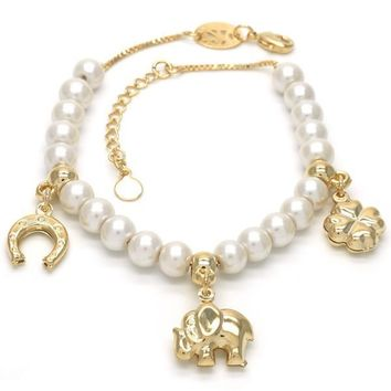 Gold Layered Charm Bracelet, Elephant and Four-leaf Clover Design, with Mother of Pearl, Golden Tone