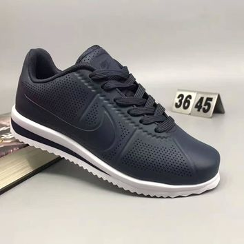"""""""NIKE"""" Fashion Casual Leather Surface Breathable Holes Thick Bottom Unisex Sneakers Co"""