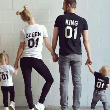 King Queen Letter T-Shirts for Men Women Summer Tee Gift -82