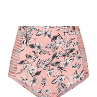 Pink Floral Print Caged Side High Waisted Bikini Bottoms