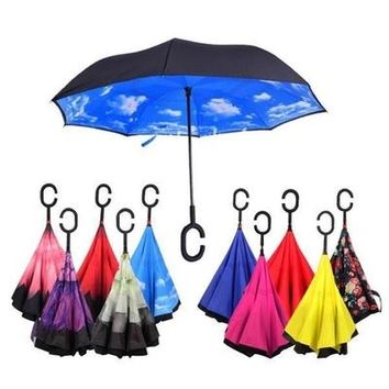Free Shipping Windproof Reverse Folding Double Layer Inverted Chuva Umbrella Self Stand Rain Protection C-Hook Hands For Car