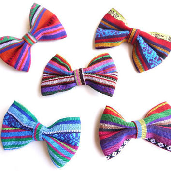 Peruvian Fabric Bows, South American Tribal Fabric Bows, Woven Textile, Appliques for DIY Jewelry Accessories, 5 Pack