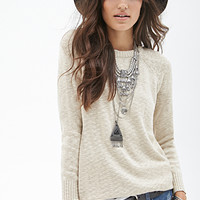 FOREVER 21 Metallic Crew Neck Sweater Gold