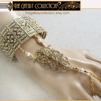 Gatsby Art Deco Rhinestone Bracelet Dress Clip Gold Tone Slave Bracelet Ring Daisy Wedding Party Silver Tone