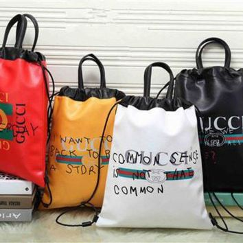"""Gucci"" Bucket bag Unisex Casual Fashion Personality Graffiti Letter Pattern Print Drawstring Backpack Double Shoulder Bag Couple Handbag"
