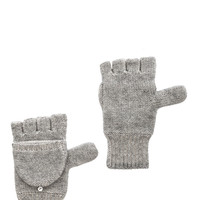 White + Warren Plated Pop Top Glove in Gray