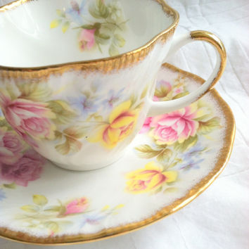 Vintage Tea Cup and Saucer by Rosina Queen's Fine Bone China/Tea Party/Cottage Style/Made in England/Fine Bone China